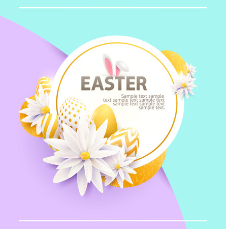 3d shape: Easter modern poster with eggs and flowers