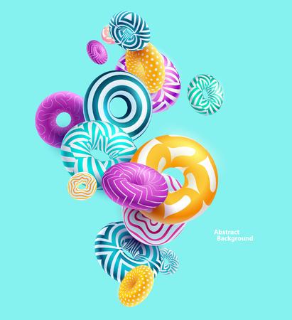 色とりどりの装飾的なリング。抽象的なベクトル イラスト。