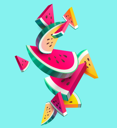 Fresh sliced ??watermelon fruit on bright background Çizim