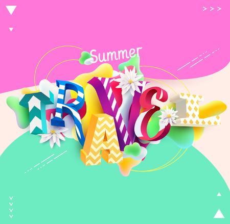 rainbow: Summer travel - 3D colorful vector. Typographic illustration. Illustration