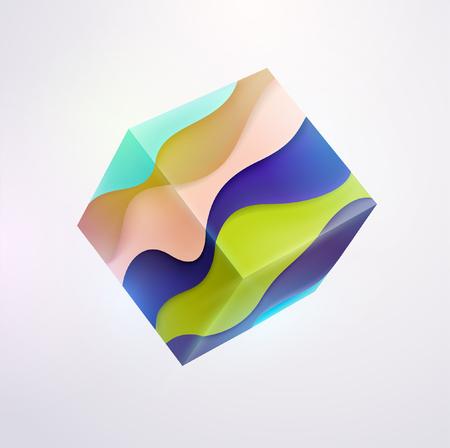 Cubo rayado de colores 3D Foto de archivo - 80608071