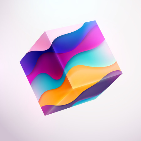 3D colored striped cube