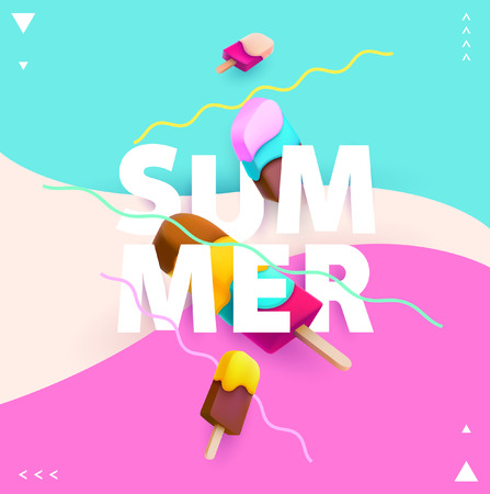 Word summer with colorful ice cream Иллюстрация