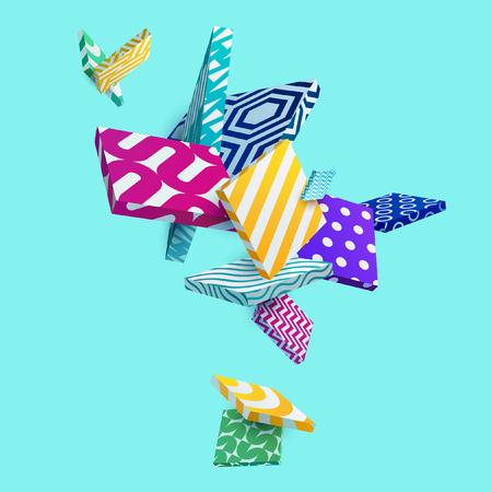Multicolored decorative 3D square. Abstract vector illustration.