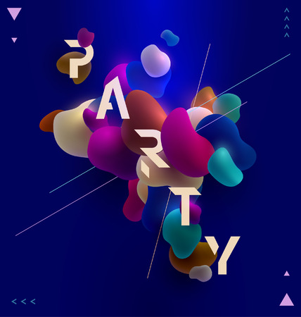 Poster for party. Plastic colorful shapes. Иллюстрация