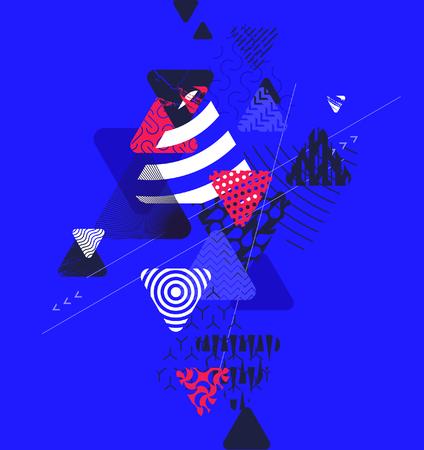 グランジの要素を持つ抽象的なブルー幾何学的背景