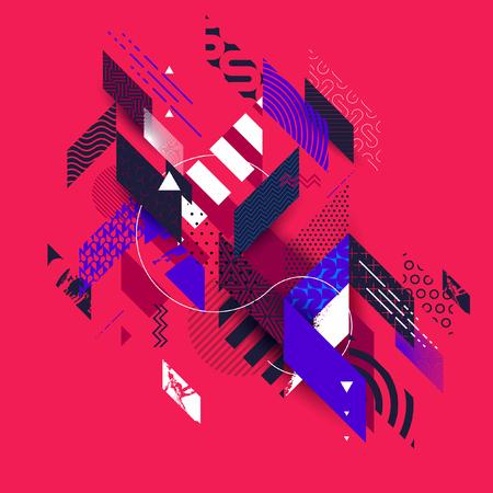 グランジの要素を持つ抽象的な赤の幾何学的な背景