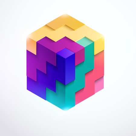 Multicolored 3D cube Illustration