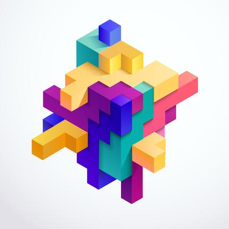 色とりどりの 3 D キューブ  イラスト・ベクター素材