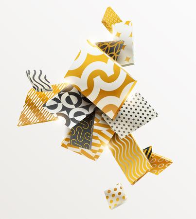abstrakcja: Sk? Ad prostok? Tów 3D z? Oto i czarne.