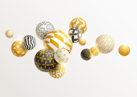 Golden decorative balls.  イラスト・ベクター素材