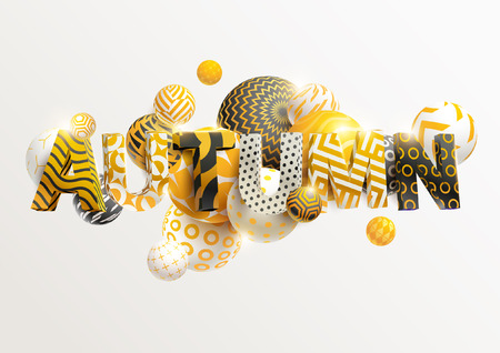 Autumn - Bright golden lettering. Realistic 3d poster.