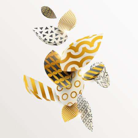 Golden leaf in different patterns