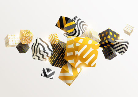 Composition of gold and black 3D cubes. Abstract vector illustration.