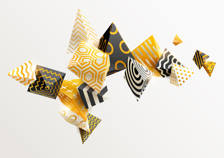 Gold and black 3D pyramids