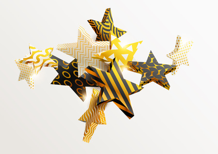 Golden stars in different patterns