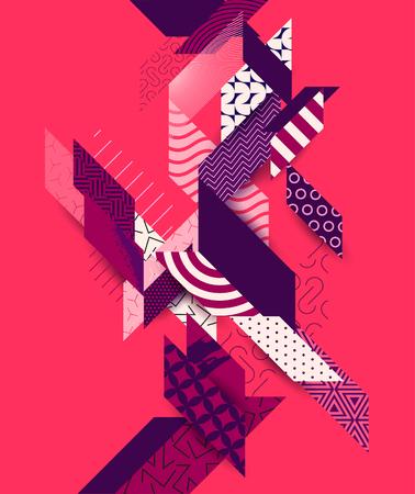 グランジの要素を持つ抽象的な赤い幾何学の背景