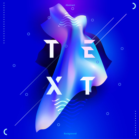 Poster template with curved fluorescent shapes