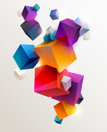 Colorful cubes background.
