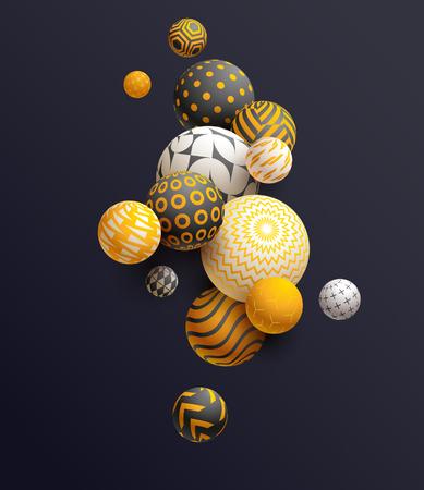 Golden decorative balls on black background, vector illustration.