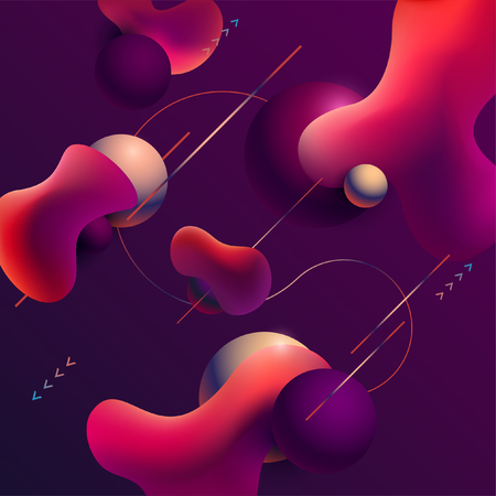 Abstract background with balls and liquid.