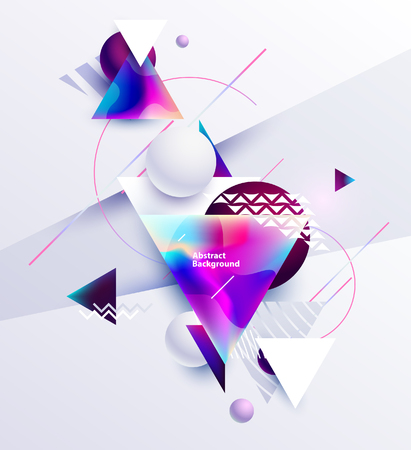 Abstract composition of multicolored triangles and balls on white background