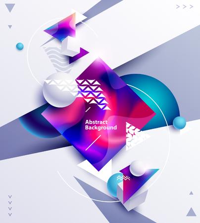 Abstracte samenstelling van veelkleurige vierkanten en ballen