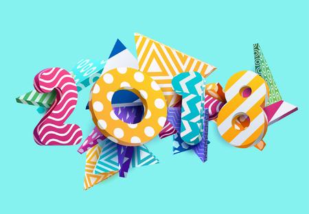Nieuw jaar 2018. Kleurrijk ontwerp. Stock Illustratie