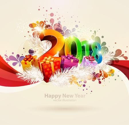 새 해 2018입니다. 다채로운 포스터입니다.
