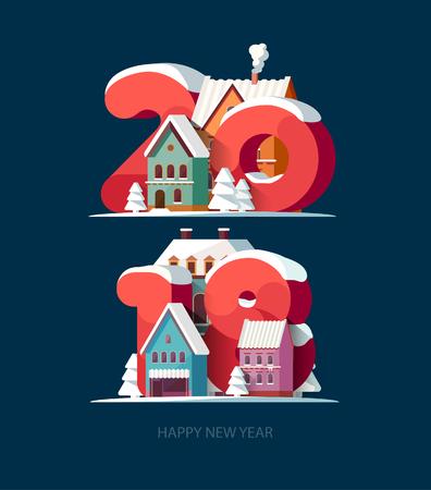 New year 2018. Greeting card. Illustration