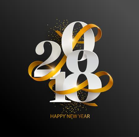 New Years 2018. Wenskaart met datum en lint Stock Illustratie