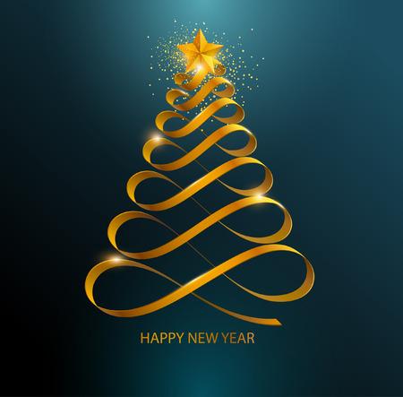 様式化されたクリスマス ツリー。黄金のカーブ リボン  イラスト・ベクター素材