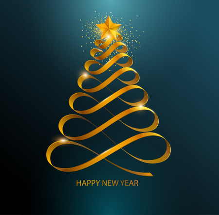 Stylized Christmas tree. Golden curved ribbon