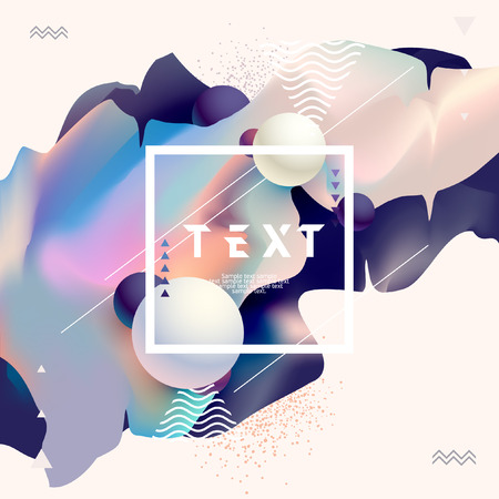 Fluid colors, poster design. Abstract colorful template. Vettoriali
