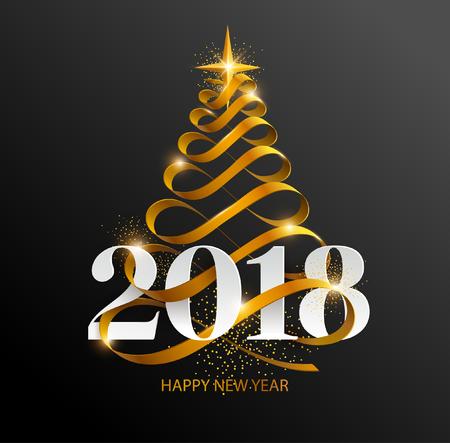 2018年の新年。クリスマスツリーと白い碑文が付いているグリーティングカード