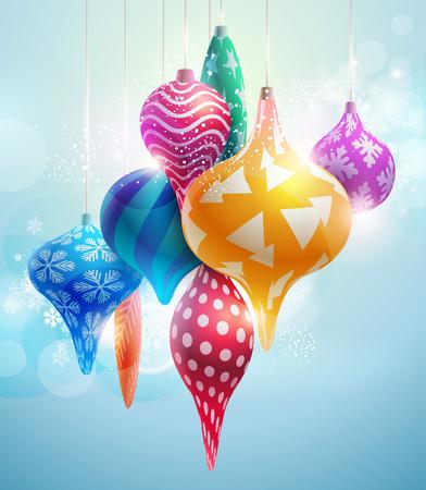 Christmas tree decorations. New year ball Vector illustration.