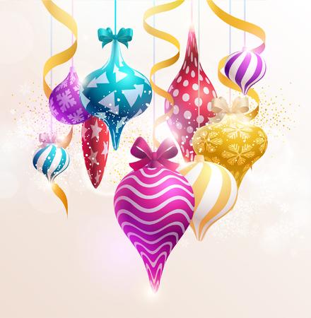 Christmas tree decorations. New year balls. Illustration