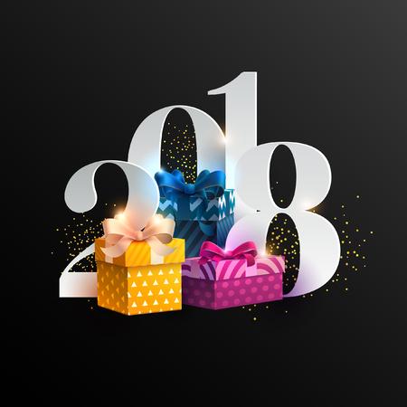 새 년 2018입니다. 인사말 카드 선물 상자와 리본