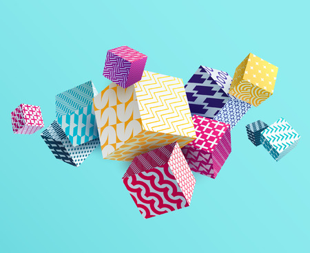 3D colorful decorative cubes Çizim