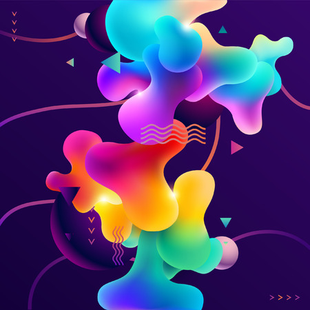 Composition of multi-colored bubbles and fluid shapes Ilustração