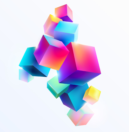 Abstract colorful composition with 3d cubes Ilustração