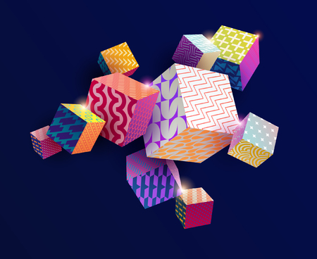3D colorful decorative cubes Foto de archivo - 95742066