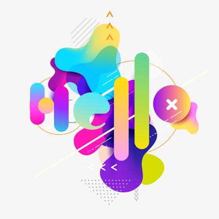 Word is hello. Colorful typographic design