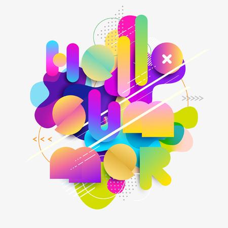 Hola verano. pegatina tipográfica. plantilla colorida Foto de archivo - 99118958