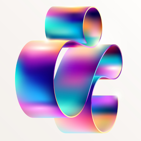 Multicolored curved line