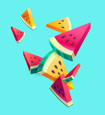 Fresh sliced ??watermelon fruit on bright background Stock Illustratie