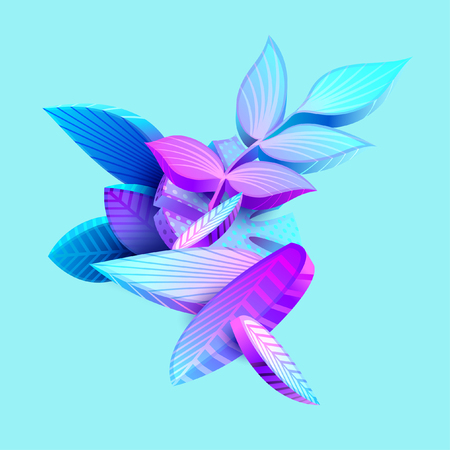 Composition of 3D stylized leaves Vector Illustration