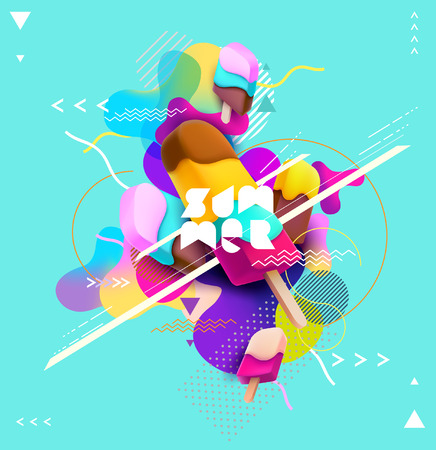 Colorful ice cream with abstract background 일러스트