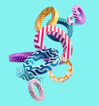 Anillos decorativos 3D. Diseño colorido. Ilustración de vector