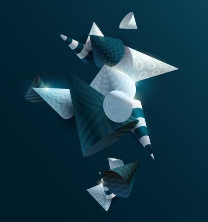 3D decorative cones. Abstract vector illustration. Foto de archivo - 108298988